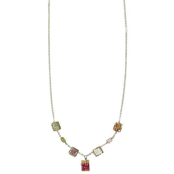 Michelle Pressler Tabs Necklace 5001 with Mixed Rubies and Gem Stones Artistic Artisan Designer Jewelry