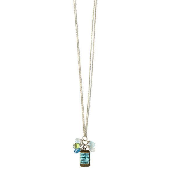 Michelle Pressler Tabs Necklace 5003 with Mixed Gemstones and Turquoise Artistic Artisan Designer Jewelry