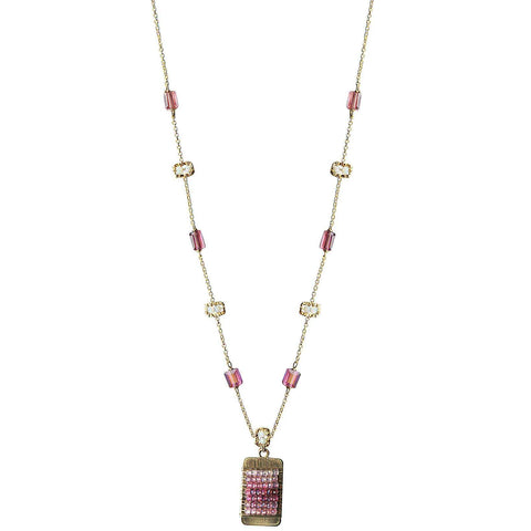 Michelle Pressler Jewelry Tabs Necklace 5020 with Pink Tourmaline Australian Opal and Spinel Artistic Artisan Designer Jewelry