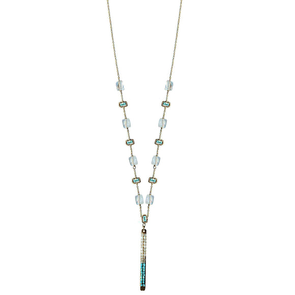 Michelle Pressler Tabs Necklace 5021 with Moonstone Turquoise Australian Opal and Natural Zircon Artistic Artisan Designer Jewelry