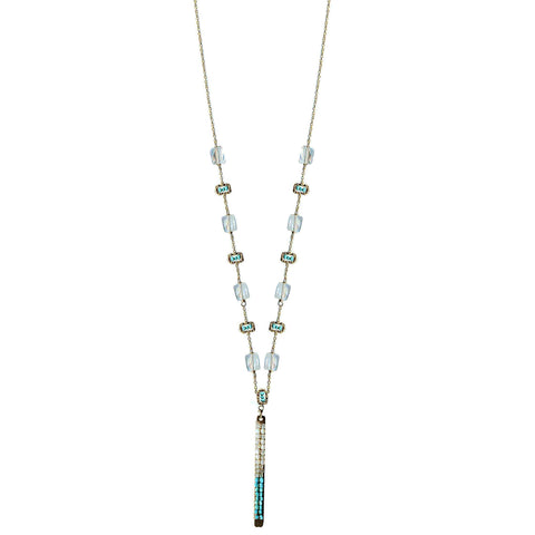Michelle Pressler Jewelry Tabs Necklace 5021 with Moonstone Turquoise Australian Opal and Natural Zircon Artistic Artisan Designer Jewelry