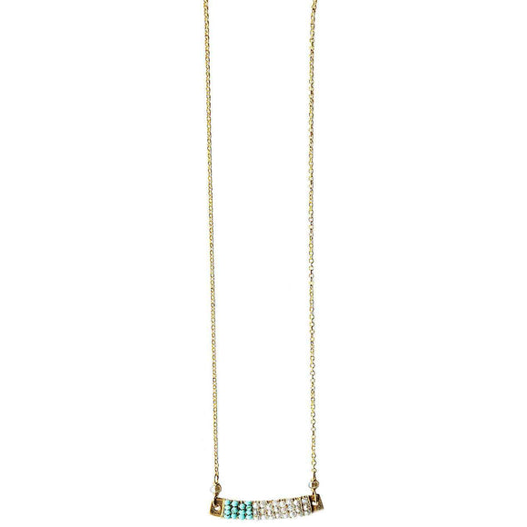 Michelle Pressler Jewelry Wrapped Bars Necklace 4930 with Turquoise and White Natural Zircon Artistic Artisan Designer Jewelry