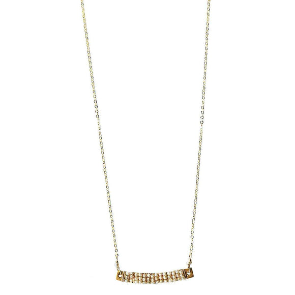 Michelle Pressler Jewelry Wrapped Bars Necklace 4931 with Natural Zircon Artistic Artisan Designer Jewelry