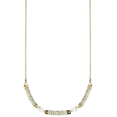 Michelle Pressler Jewelry Wrapped Bars Necklace 4932 with White Natural Zircon and Moonstone Artistic Artisan Designer Jewelry