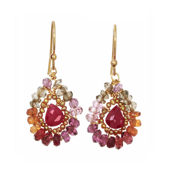Michelle Pressler Earrings Whiskey Quartz and Ruby Teardrop 2362, Artistic Artisan Designer Jewelry