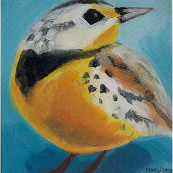 Molly Cranch Artist Painting Eastern Meadowlark 8x8 OL07 Original One Of A Kind Acrylic Painting