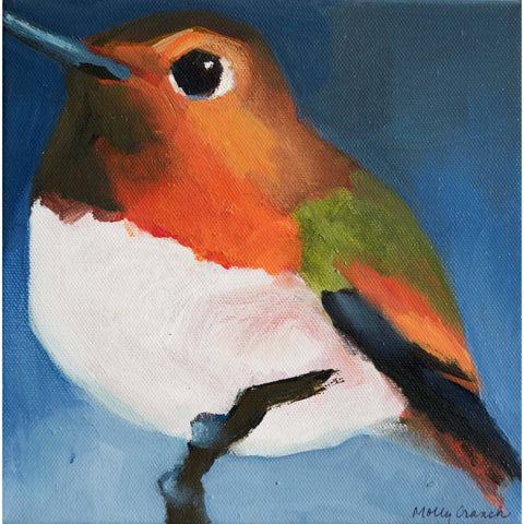 Molly Cranch Artist Painting Hummingbird 8x8 OL12 Original One Of A Kind Acrylic Painting