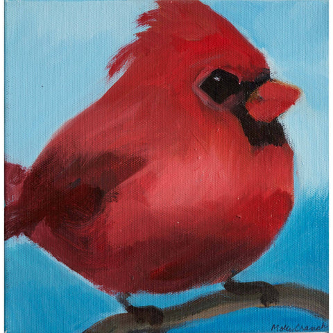 Molly Cranch Artist Painting Red Cardinal 8x8 OL11 Original One Of A Kind Acrylic Painting