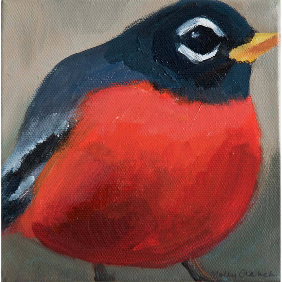 Molly Cranch Artist Painting Red Robin 6x6 OL02 Original One Of A Kind Acrylic Painting