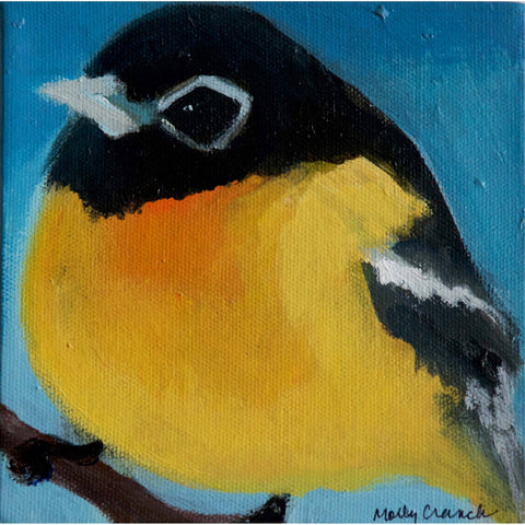 Molly Cranch Artist Painting Yellow Gold Finch 6x6 OL06 Original One Of A Kind Acrylic Painting