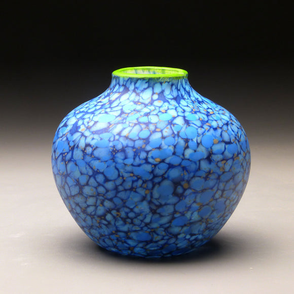 Native Vessel in Blue Handblown Glass Vase by Thomas Spake Studios Artisan Handblown Art Glass Vases