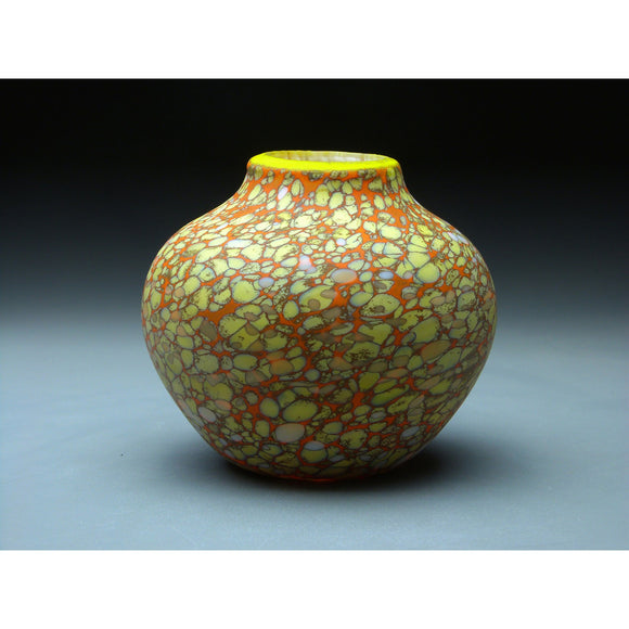 Native Vessel in Orange Handblown Glass Vase by Thomas Spake Studios Artisan Handblown Art Glass Vases