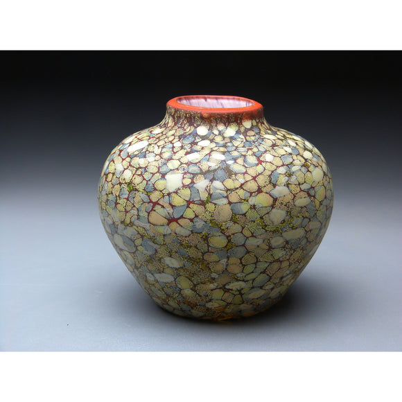 Native Vessel in Sandy Handblown Glass Vase by Thomas Spake Studios Artisan Handblown Art Glass Vases