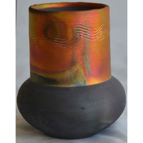 Norman Bacon Copper Raku Vessel NB548 Art Pottery
