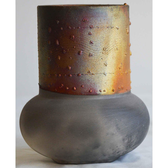 Norman Bacon Copper Raku Vessel NB549 Art Pottery