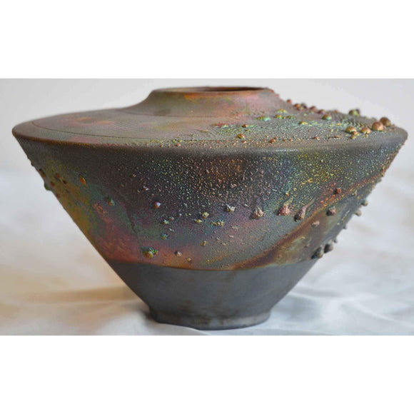 Norman Bacon Copper Raku Vessel NB550 2 Art Pottery