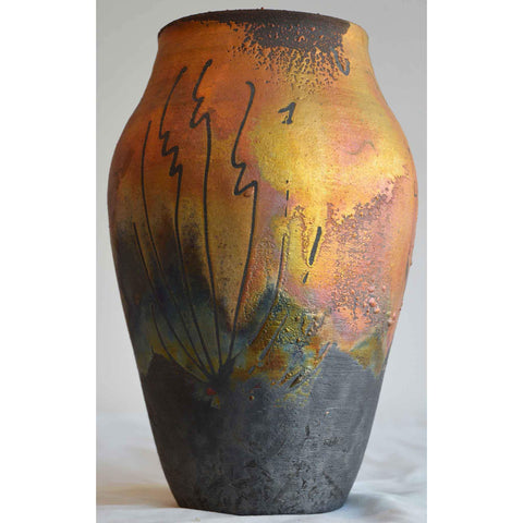 Norman Bacon Copper Raku Vessel NB551 1 Art Pottery