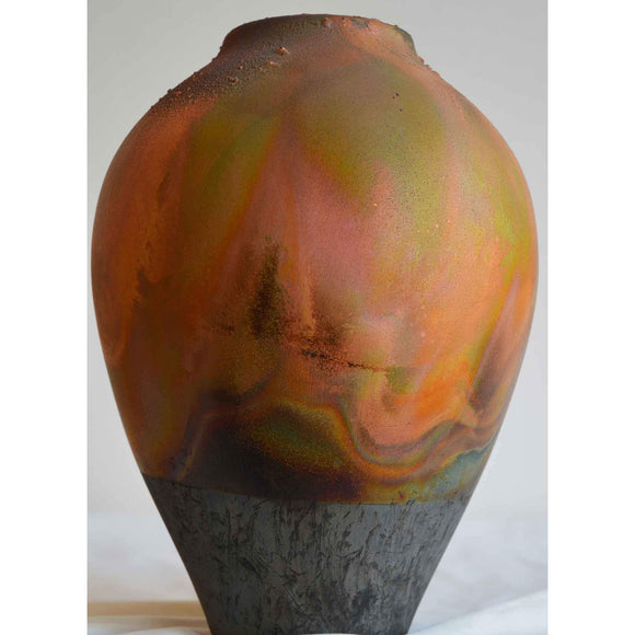 Norman Bacon Copper Raku Vessel NB551 Art Pottery