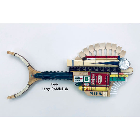 Petit Large Pickle Ball Racket PaddleFish with Wood Scoops Fin Fish Wall Art Sculpture by Stephen Running Dog Studios