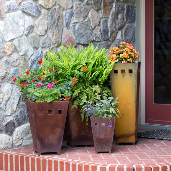 Prairie Dance Small Medium Large and Tall Metal Planters Artistic Artisan Designer Planters