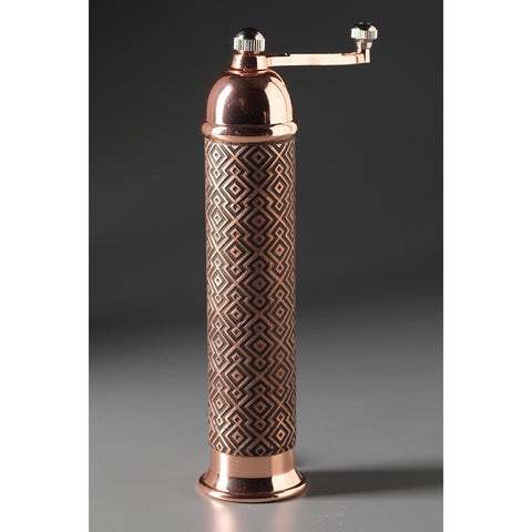 Metal Salt Mill or Pepper Mill-Grinder Aztec Copper by Raw Design by Robert Wilhelm Artistic Artisan Designer Metal Salt and Pepper Mill Grinders