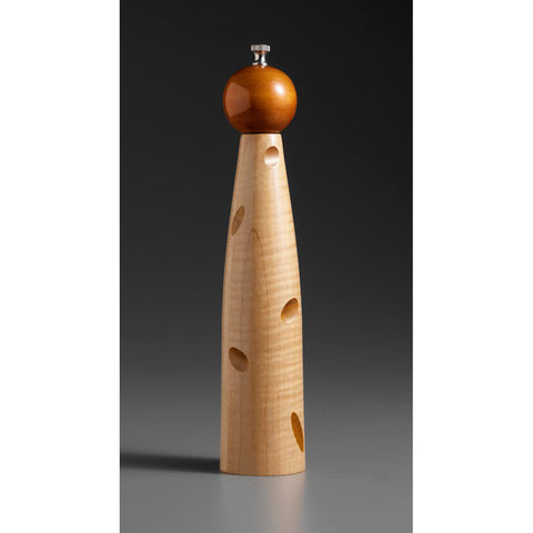 Wood Salt Shaker or Pepper Mill-Grinder Ellipse E-3 by Raw Design by Robert Wilhelm Artistic Artisan Designer Wooden Salt and Pepper Mill Grinders