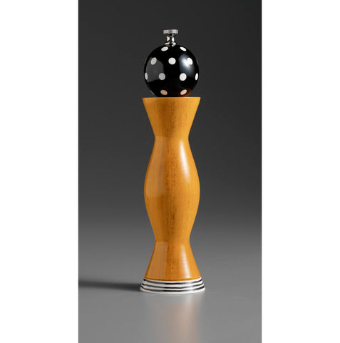 Raw Design Aqua Black and White Wooden Salt Shaker and Pepper Mill-Grinder Combo C-26 by Robert Wilhelm, Artistic Designer Salt and Pepper Shakers.jpg