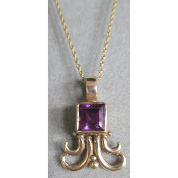 Richelle Leigh 14Kt Gold Amethyst Swirl Pendant Necklace PDT102YG Artistic Designer Handcrafted Jewelry