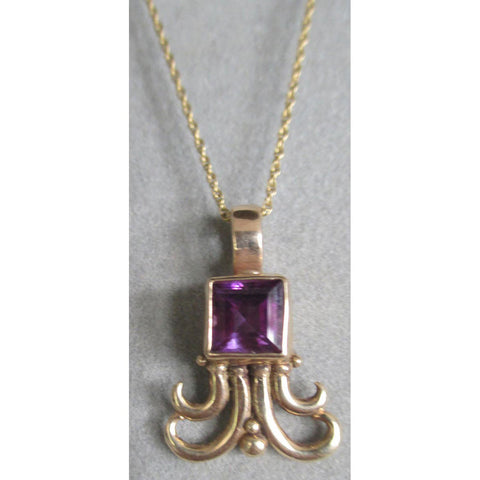14Kt Gold Amethyst Swirl Pendant Necklace PDT102YG by Richelle Leigh