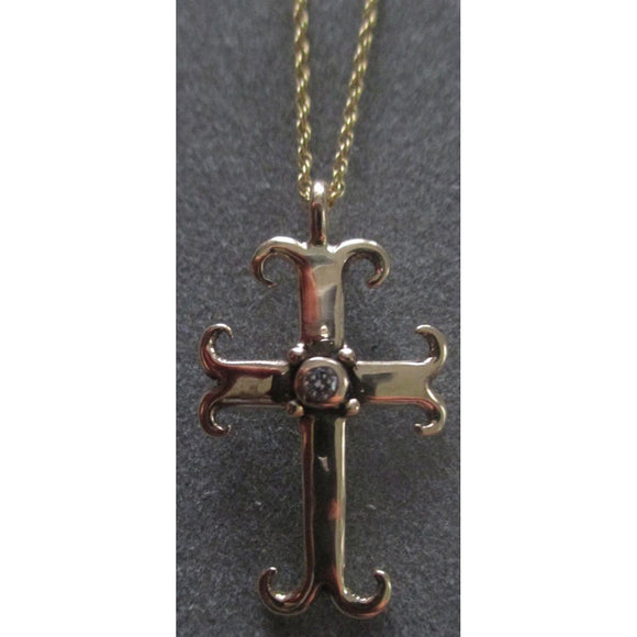 Richelle Leigh 14Kt Gold Diamond Swirl Cross Pendant Necklace PDT92YG Artistic Designer Handcrafted Jewelry