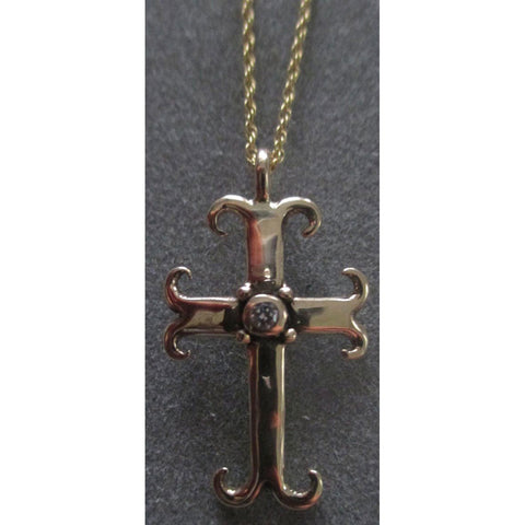 14Kt Gold Diamond Swirl Cross Pendant Necklace PDT92YG by Richelle Leigh