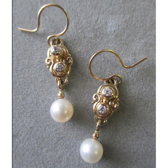 Richelle Leigh 14Kt. Gold Swirl Diamond and Pearl Bridal Earrings ER111YG Artistic Designer Handcrafted Jewelry