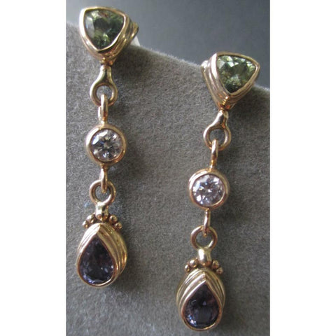 Richelle Leigh 14Kt Gold Fancy Sapphire & Diamond Dangle Post Earrings ER49YG Artistic Designer Handcrafted Jewelry