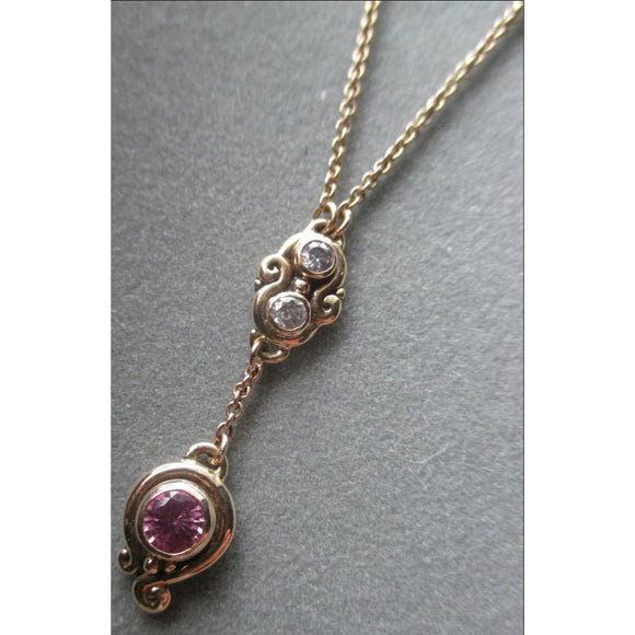 Richelle Leigh 14Kt Gold Pink Sapphire & Diamond Lariat Necklace PDT47YG Artistic Designer Handcrafted Jewelry