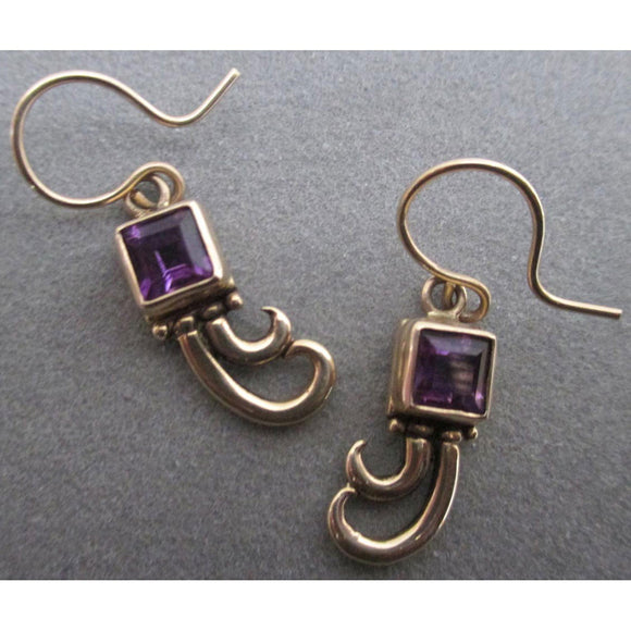 Richelle Leigh 14Kt Gold Princess Cut Amethyst Swirl Earrings ER84YG Artistic Designer Handcrafted Jewelry