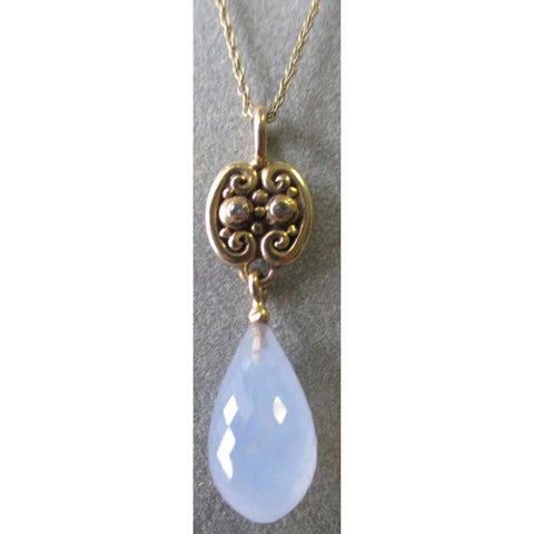 Richelle Leigh 14Kt Gold Swirl Blue Chalcedony Briolette Pendant Necklace PDT66YG Artistic Designer Handcrafted Jewelry