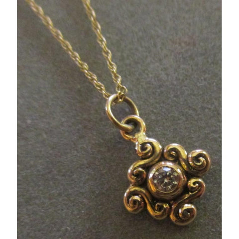 Richelle Leigh 14Kt. Gold Swirl Diamond Pendant PDT24YG Artistic Designer Handcrafted Jewelry