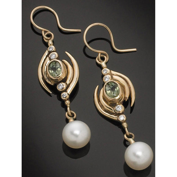 Richelle Leigh 14Kt Yellow Gold Green Sapphire, Diamond and Pearl Earrings ER94YG Artistic Designer Handcrafted Jewelry
