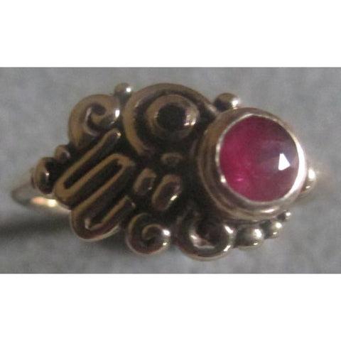 Richelle Leigh Sterling Silver Asymmetric Garnet Ring R54SSG Artistic Designer Handcrafted Jewelry