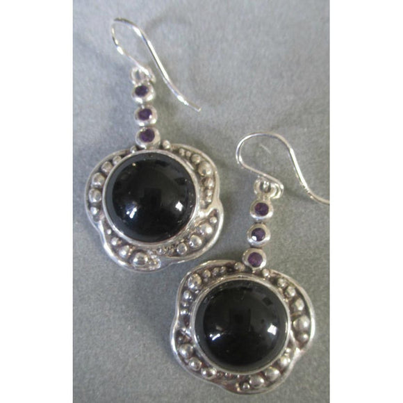Richelle Leigh Sterling Silver Black Onyx and Amethyst Statement Earrings ER104SSO Artistic Designer Handcrafted Jewelry