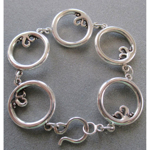 Richelle Leigh Sterling Silver Chunky Circle Link Bracelet BL34SS Artistic Designer Handcrafted Jewelry