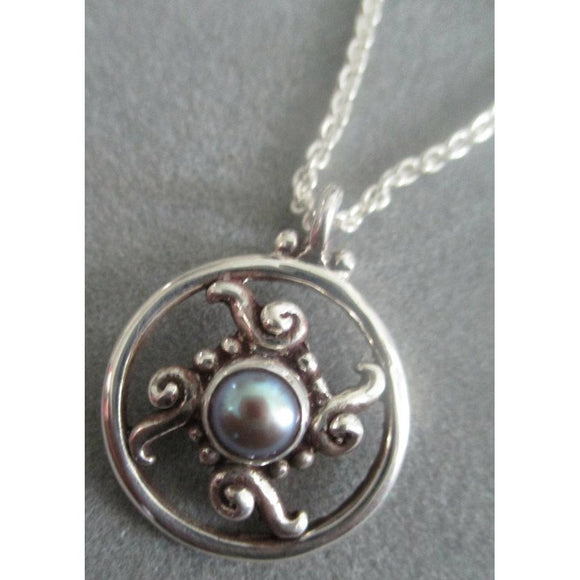 Richelle Leigh Sterling Silver Circle Swirl Gray Pearl Pendant PDT35SSP Artistic Designer Handcrafted Jewelry