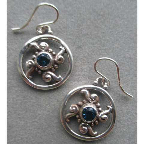 Richelle Leigh Sterling Silver Circle Swirl London Blue Topaz Earrings ER105SST Artistic Designer Handcrafted Jewelry