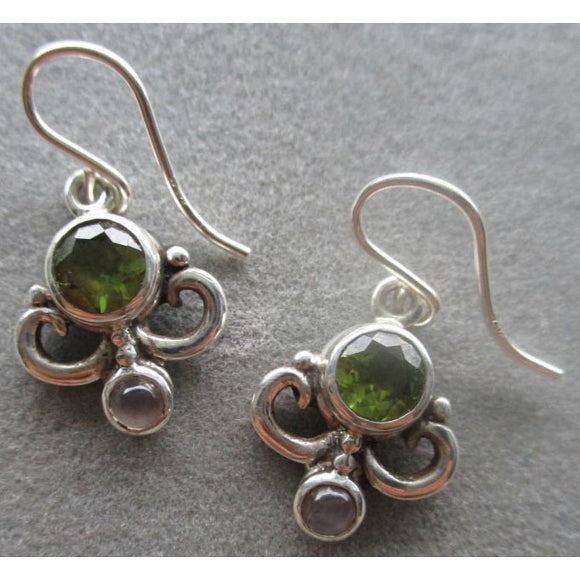 Richelle Leigh Sterling Silver Swirl Peridot & Moonstone Earrings ER111SS Artistic Designer Handcrafted Jewelry