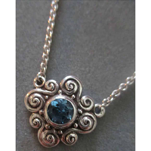 Richelle Leigh Sterling Silver Swiss Blue Topaz Swirl Pendant Necklace PDT24SST Artistic Designer Handcrafted Jewelry