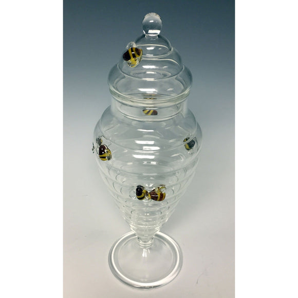 Sage Studios Glass Beehive Apothecary Jar Bees Line Functional Art Glass Covered Vessels
