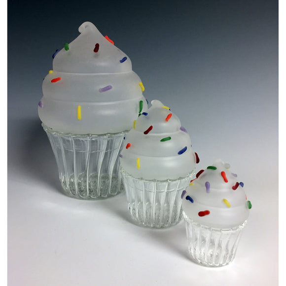 Sage Studios Glass Trio of Cupcakes Jars Sweets Line Functional Art Glass Covered Vessels