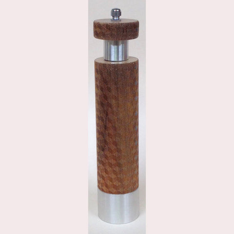 Salt and Pepper Mill Grinder by Robert Wilhelm Raw Design Limited Edition Eight and Ten Inch Laser Etched Artistic Designer Salt and Pepper Shakers Mills Grinders