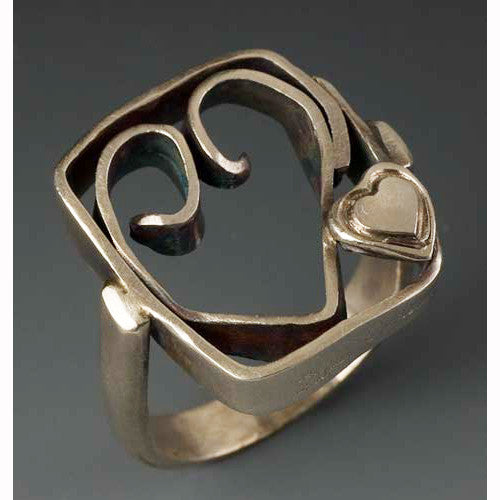Sherri Cohen Design Heart In A Box Ring, Artistic Artisan Designer Jewelry