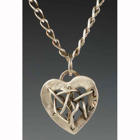 Sherri Cohen Design Mended Heart With Love Necklace, Artistic Artisan Designer Jewelry